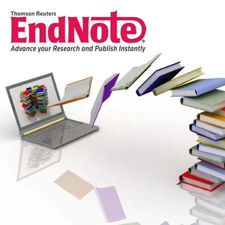Collage of EndNote logo, laptop and flying books