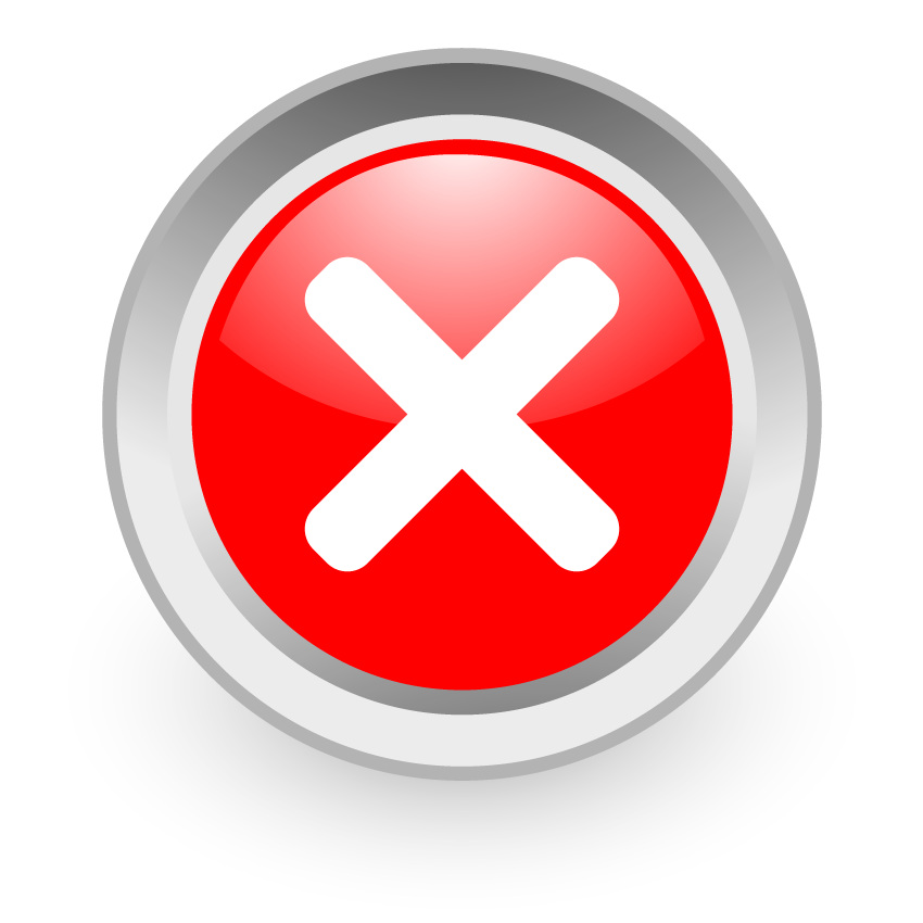 Icon for errors or cancellation (white cross in red circle)