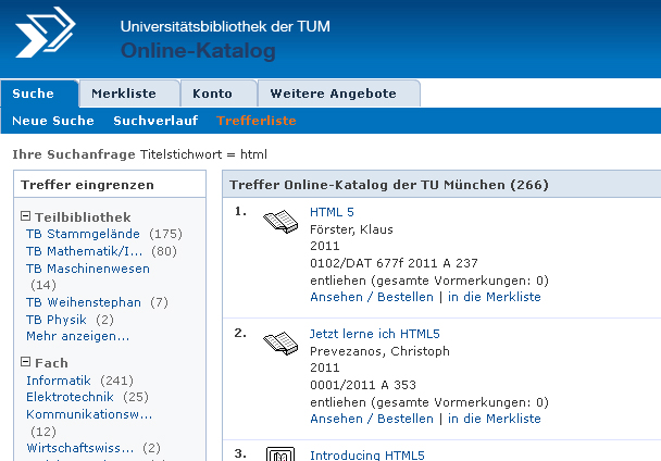 Discover the new opac features tum university library discover the new opac features stopboris Choice Image
