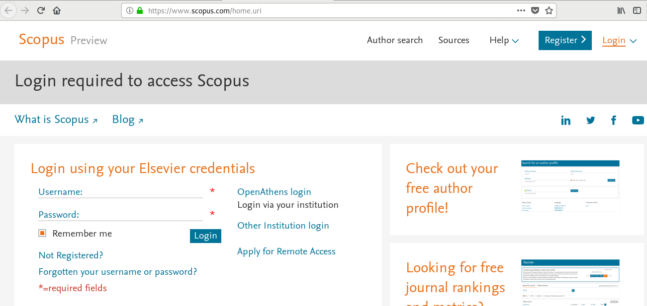 Institutional Login (Shibboleth) bei Scopus