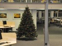 Weihnachtsbaum in der Teilbibliothek Stammgelände