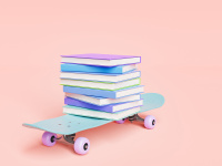 Skateboard with pile of books