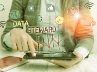 Data Steward mit Tablet und Icons