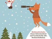 Grafik mit Weihnachtsmann im Heißluftballon und Fuchs mit Fernglas