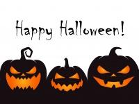 Drei Kürbis-Fratzen, Schriftzug Happy Halloween