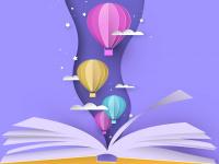 Grafik, geöffnetes Buch aus dem Heißluftballons schweben