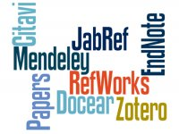 Tagcloud with the terms Citavi, Mendeley, JabRef, RefWorks, EndNote, Docear, Zotero