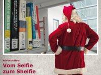 Plakat zum Facebook-Adventrätsel mit Nikolaus vor einem Bibliotheksshelfie