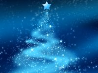 Graphic art with a Christmas tree containg of lights and stars with a blue background