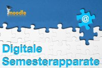 "White jigsaw puzzle on blue background, Moodle logo and ""digital course reserves"" written on it (in German)"