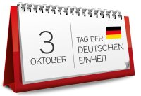 Calender sheet showing Oct 03, anniversary of German unification