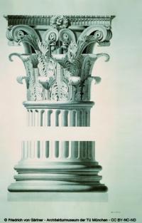 Korinthisches Kapitell mit Basis vom Tempel des Jupiter Tonans von Friedrich von Gärtner