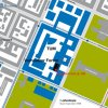 Map of TUM Main Campus giving directions to the Vorhoelzer Forum