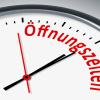 Uhr mit Beschriftung Öffnungszeiten